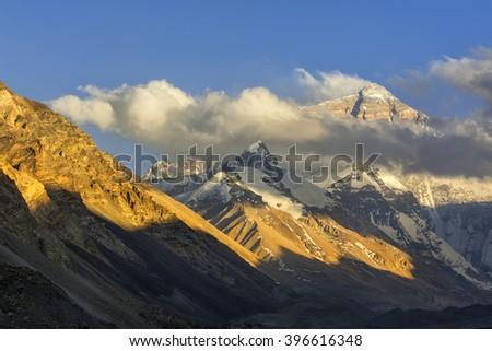 Mt. Everest at Sunset - stock photo