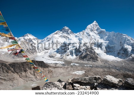 Mt. Everest from Kala Patthar, Nepal - stock photo