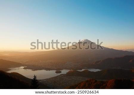 Mt. Fuji and Kawaguchi lake - stock photo