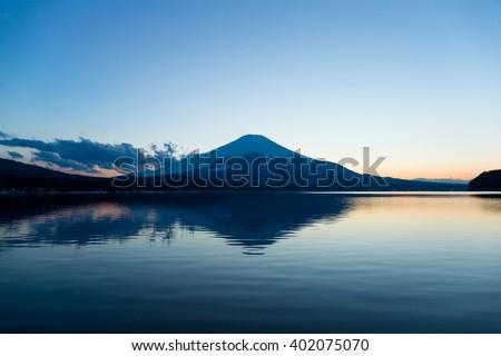 Mt. Fuji and Lake Yamanaka  - stock photo