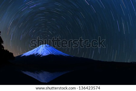 Mt. Fuji and star trails - stock photo