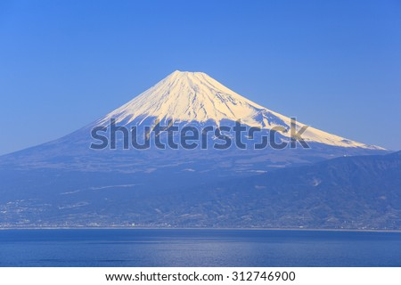 Mt. Fuji and Suruga Bay seen from Nishiizu Heda, Shizuoka, Japan - stock photo