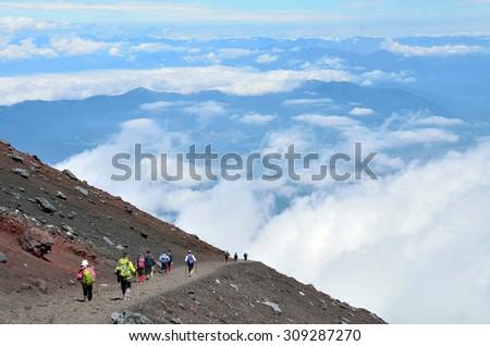 Mt. Fuji climbing,Yoshida Trail for descent  - stock photo