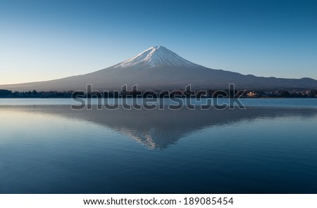 Mt. Fuji in the early morning with reflection on the lake  - stock photo