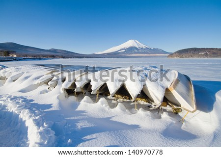 Mt.Fuji in winter with snow - stock photo