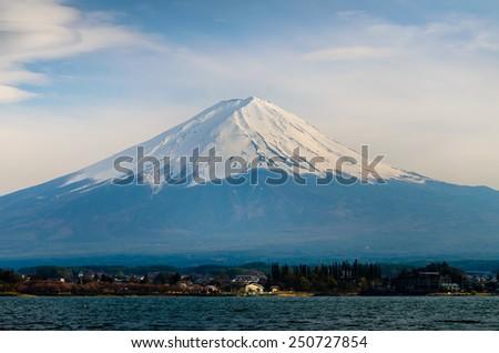 Mt.Fuji seen from Kawaguchiko lake - stock photo