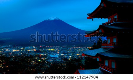Mt. fuji view from chureito pagoda, Japan - stock photo