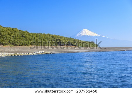 Mt. Fuji view from Mihonomatsubara, Izu, Shizuoka, Japan - stock photo