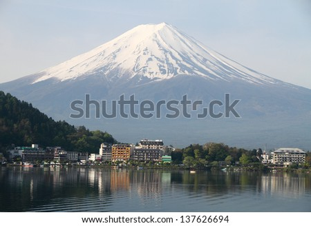 Mt Fuji view from the lake, Japan  - stock photo