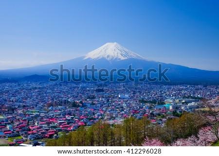 Mt. Fuji With Cherry Blossom (Sakura )in Spring, Fujiyoshida, Japan - stock photo