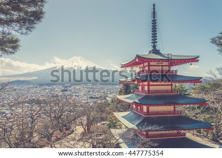Mt. Fuji with Chureito Pagoda at sunrise in autumn, Fujiyoshida, Japan