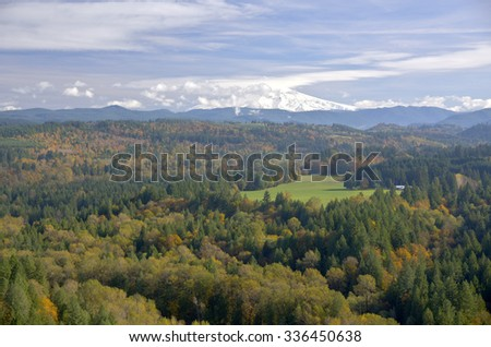 Mt. Hood and seasonal changes from Jonsrud Viewpoint Sandy Oregon. - stock photo
