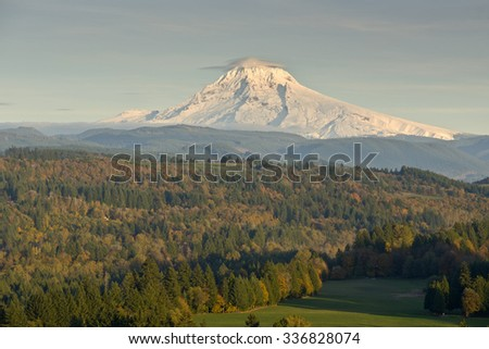 Mt. Hood at sunset from Jonsrud Viewpoint Sandy Oregon. - stock photo
