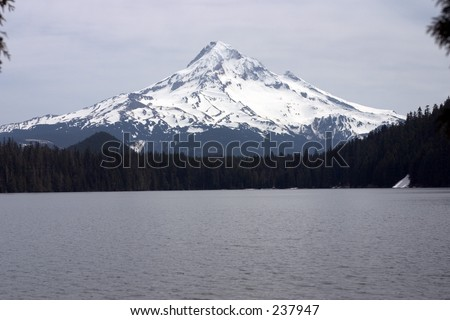 Mt Hood from Lost Lake. - stock photo