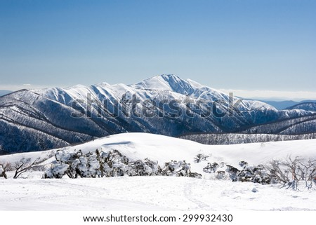 Mt Hotham ski resort after fresh snow looking towards Mt Feathertop