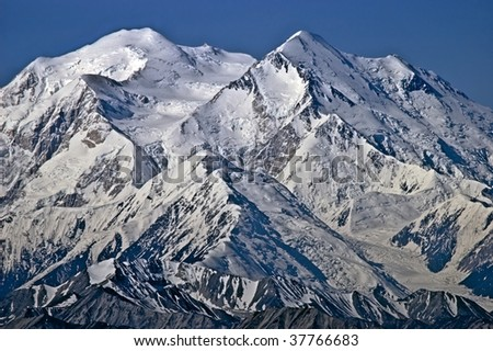 Mt. McKinley north and south peaks - stock photo