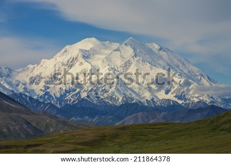 Mt. Mckinley  on a clear day. - stock photo
