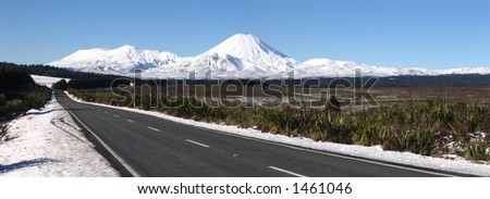 Mt Ngaruhoe and Mt Tongariro - stock photo