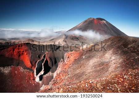 "Mt.Ngauruhoe (aka. Mt.Doom), North Island, New Zealand on a sunny morning. Part of ""Tongariro Alpine Crossing"" the most famous NZ one day hike. - stock photo"