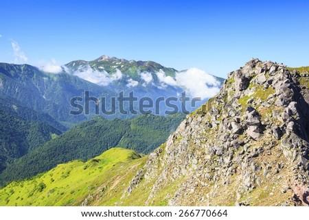 Mt. Norikura seen from Mt. Yakedake, Japan Alps - stock photo