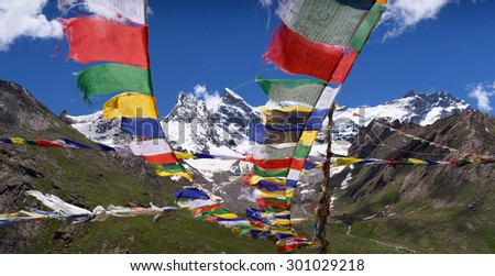 Mt.Nun-Kun landscape view with buddhist prayer flags ,Zanskar,Jammu-Kashmir,India