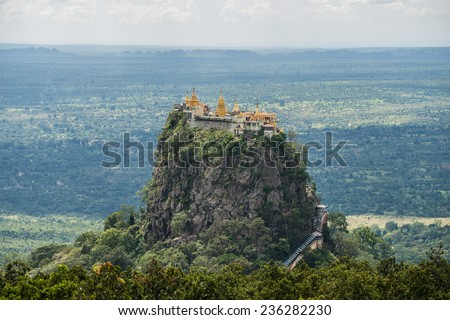 "Mt.Popa home of the ""nat"", heavenly ghosts of the Burmese mythology."
