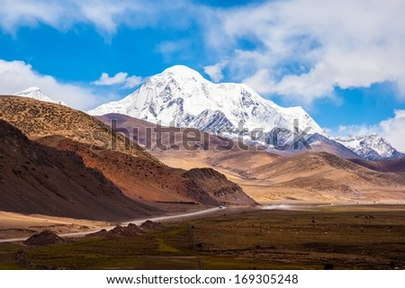 Mt.Qungmogangze. Taken in the way from Shigatse to lhasa of tibet. Mt.Qungmogangze is elevation 7048m