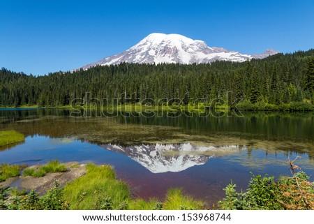 Mt. Rainier - Reflection Lake - stock photo