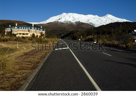 Mt. Ruapehu and The Chateau New Zealand - stock photo