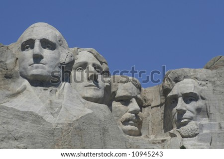Mt Rushmore all four sculptures  on a clear summer day - stock photo