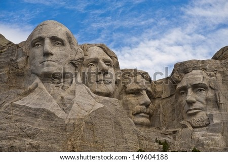 Mt. Rushmore, close up, morning - stock photo
