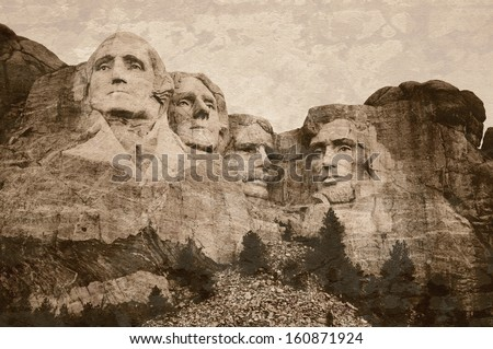 Mt. Rushmore National Memorial Park in South Dakota with sepia tone vintage overlay. Sculptures of former U.S. presidents; George Washington,Thomas Jefferson,Theodore Roosevelt and Abraham Lincoln. - stock photo