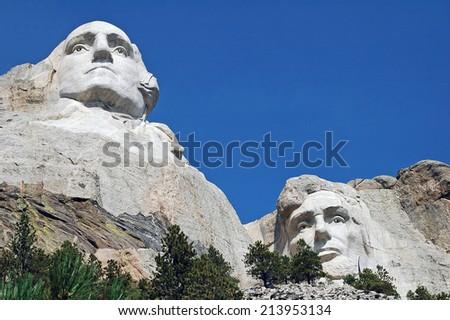 Mt Rushmore Washington & Lincoln - stock photo