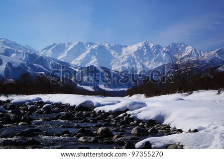 Mt. Shiroumadake, Hakuba village in winter, nagano japan - stock photo