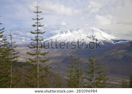 Mt. St. Helen landscape and skies at sunset Washington state. - stock photo