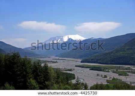 Mt St Helens and the Toutle River Valley - stock photo
