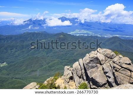 Mt. Yatsugatake seen from Mt. Mizugaki, Japanese Mountain - stock photo
