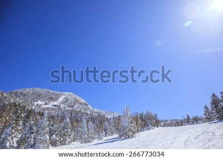 Mt.Yokote Ski resort in Shiga Highlands, Nagano, Japan - stock photo