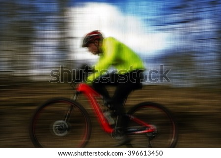 MTB action - mountain bike cross-country race in Denmark. Vintage style. - stock photo