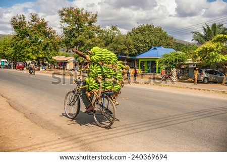 MTO WA MBU, ARUSHA, TANZANIA - OCTOBER 22, 2014 : African man traveling on a bike with a bunch of bananas - stock photo