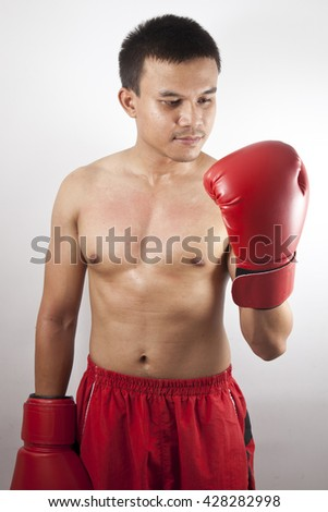 muay thai boxer man trainings.