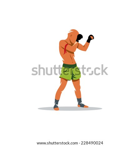 Muay Thai boxing sign. Thailand fighter man. Asia Martial Arts concept. Kickboxing sport. Branding Identity Corporate logo design template Isolated on a white background - stock photo
