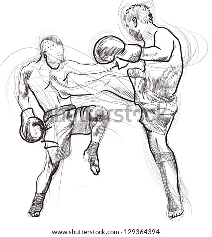 Muay Thai (combat martial art from Thailand) - Kickboxing (group of martial arts and stand-up combat sports from Japan). /// Full sized hand drawing. Black contours on white background.