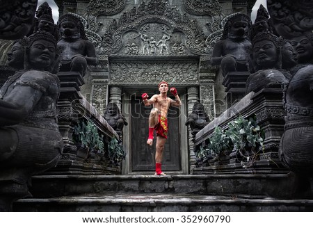 Muay Thai fighter preparing to fight