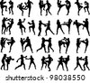 Muay Thai martial art vector illustration collection - stock photo