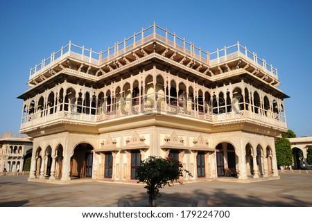 Mubarak Mahal palace in the City Palace of Jaipur, Rajasthan, India - stock photo