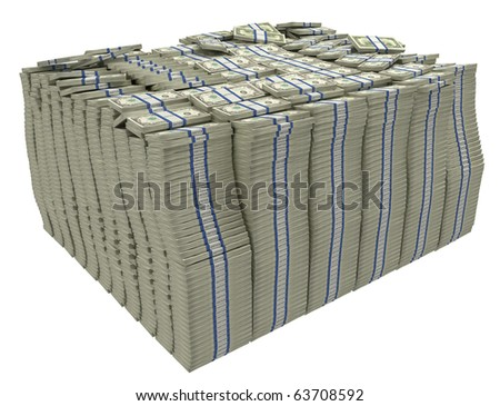 Much money. Large stack of US dollars isolated - stock photo