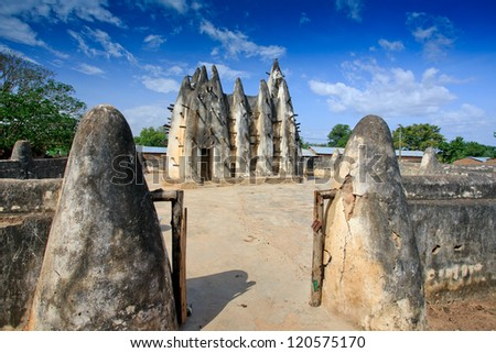 Mud and stick mosque - wide angle, in Nakori, Ghana - stock photo