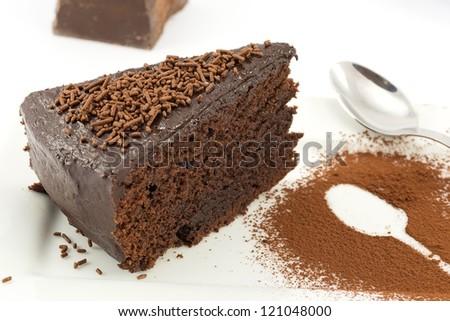 mud cake, chocolate cake - stock photo