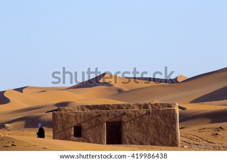 Mud House, Sahara Desert, Morocco. - stock photo